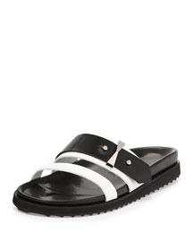 Double-Band Slide Sandal, Black/White