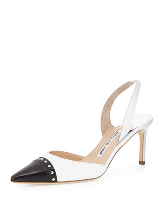 Cordoba Bicolor Pointed Cap-Toe Slingback, Black/White