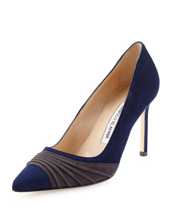 Bibigo Pintuck Point-Toe Pump, Navy