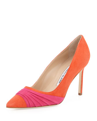 Bibigo Pintuck Point-Toe Pump, Orange