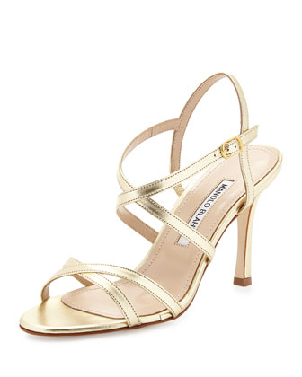 Bayan Strappy Metallic Leather Sandal, Gold