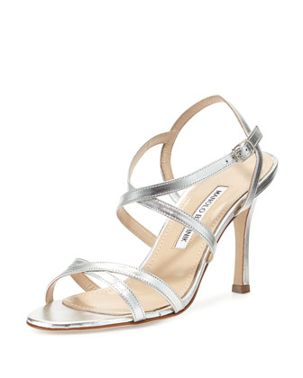 Bayan Strappy Metallic Leather Sandal, Silver