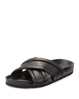 Orson Leather Crisscross Sandal, Black