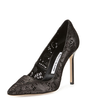 BB Laser-Cut Leather Pump, Black