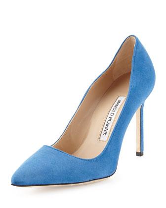 BB Suede Point-Toe Pump, Blue