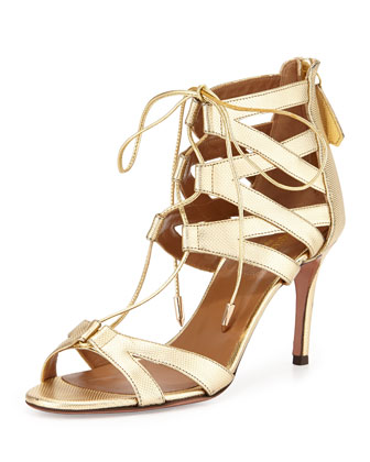 Beverly Hills Metallic Lace-Up Sandal, Gold