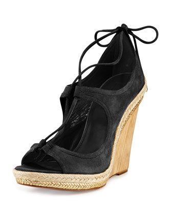 Christy Lace-Up Wedge Sandal, Black