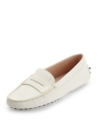 Pebbled Penny-Front Gommini Moccasin, White