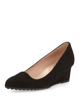 Almond-Toe Suede Wedge, Black