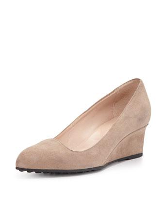 Almond-Toe Suede Wedge, Brown