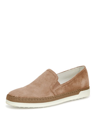 Braided Suede Slip-On Sneaker, Brown