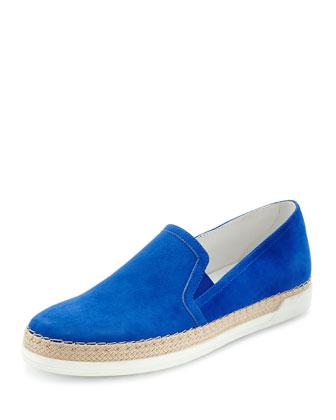 Braided Suede Slip-On Sneaker, Blue