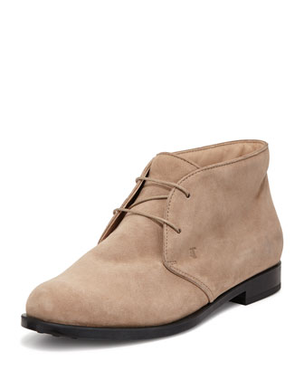 Flat Desert Ankle Bootie, Brown