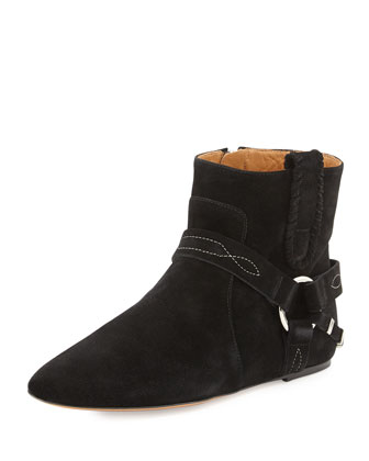 Suede Side-Zip Bootie, Black