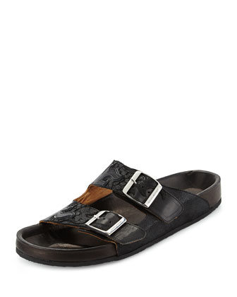 Double-Buckle Flame Flat Sandal, Black