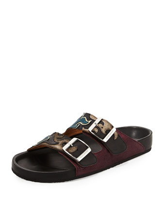 Flame-Embossed Double-Buckle Slide Sandal