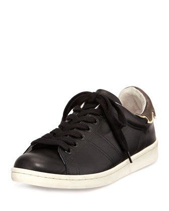 Flame-Detailed Leather Low-Top Sneaker, Black