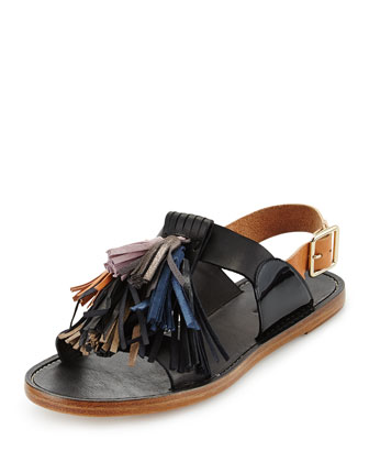 Flat Leather Pompom Sandal, Black