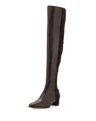 Pampahi Leather Over-the-Knee Boot, Brown