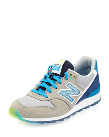 696 Metallic Detailed Leather Trainer, Blue/Gray