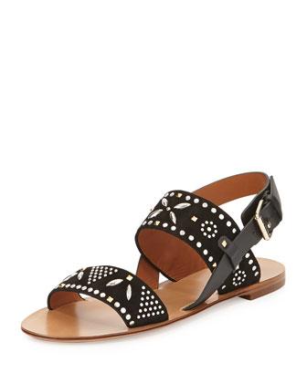Teodora Studded Slingback Sandal, Black