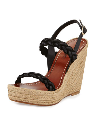 Braided Leather Double-Strap Espadrille, Black