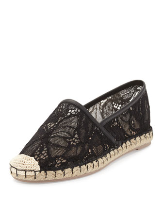 Butterfly Lace Flat Espadrille