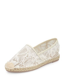 Butterfly Lace Flat Espadrille, White