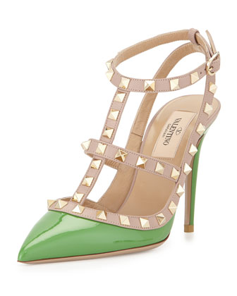 Rockstud Patent Sandal, Green