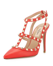 Rockstud Leather Sandal, Orange