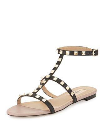 Rockstud Ankle-Strap Flat Sandal, Black