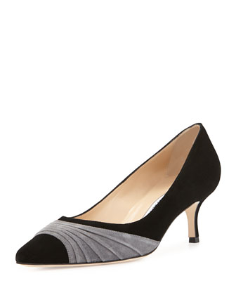 Golda Ruched Suede Pointy Pump, Black/Gray