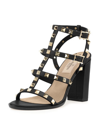 Rockstud Leather Cage Sandal, Black