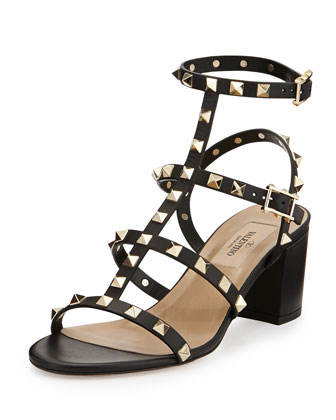 Rockstud Strappy City Sandal, Black