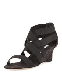 Glassa Strappy Metallic Cork Wedge Sandal, Black