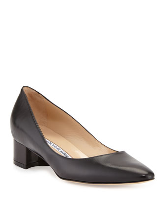 Listony Leather Low-Heel Pump, Black