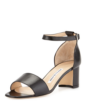 Laurato Leather Chunky Heel Sandal, Black