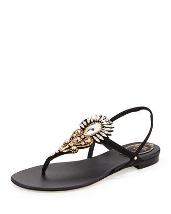 Crystal-Embellished Thong Sandal, Black/Gold