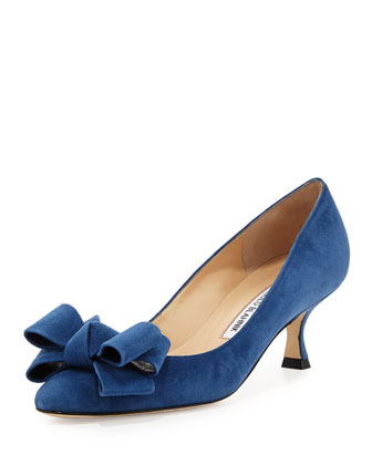 Lisa Suede Bow Low Pump, Blue