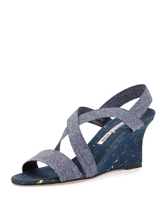 Terwe Elastic Metallic Cork Wedge Sandal, Blue