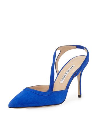 Parros Asymmetric Point-Toe Slingback, Blue
