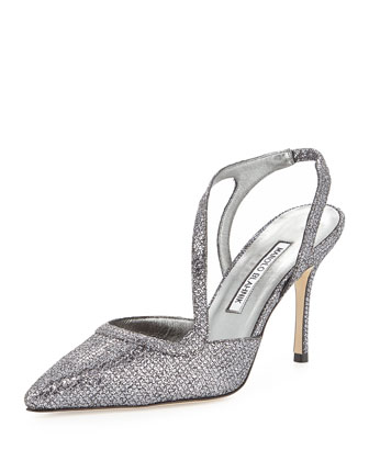 Parros Point-Toe Glitter Slingback, Anthracite