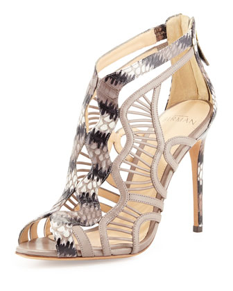 Wave-Caged Snakeskin & Leather Sandal, Gray