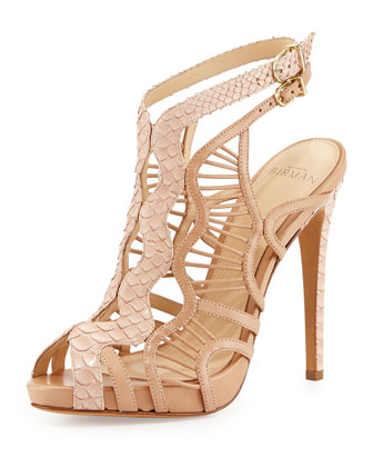 Wave-Caged Python & Leather Sandal, Neutral