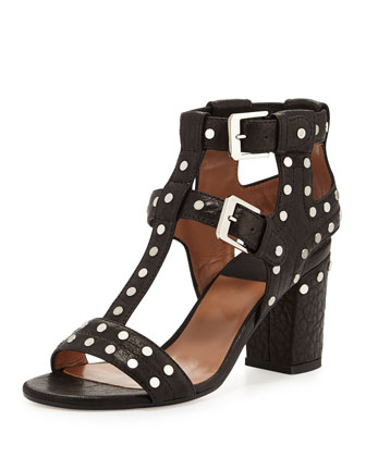 Helie Studded Leather Caged Sandal, Beige