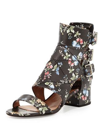 Flo Triple-Buckle Floral-Print Sandal, Black