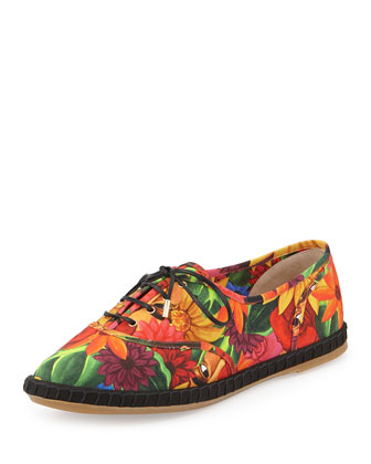 Maria Floral-Print Lace-Up Flat Espadrille