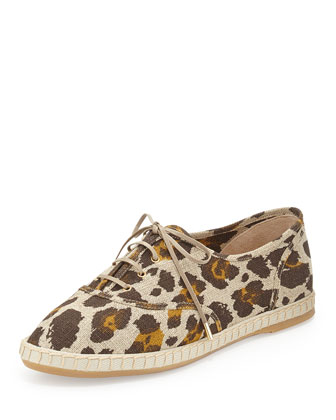 Maria Leopard Linen Sneaker, Brown