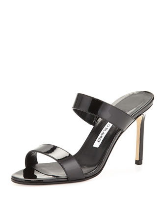 Muluca Double-Band Patent Sandal, Black