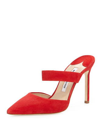 Trovina Suede Point-Toe Mule, Red